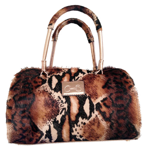 Python print leather bag. Double hand and safe zip compartment. Made from cow hide.