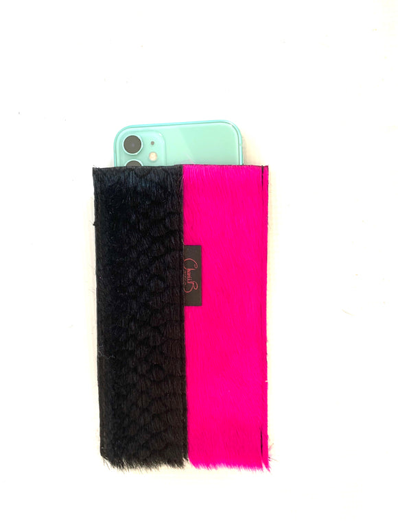 Phone Sleeve- long- fuchsia/black emboss