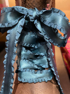 Satin Ruffle ribbon teal