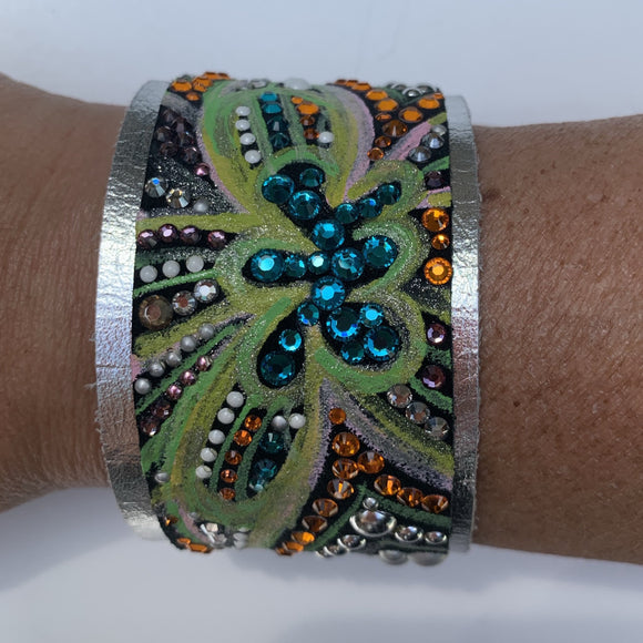 Caroline Rocha - Butterfly print leather cuff