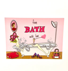 Postcard - Bubble Bath With Heels