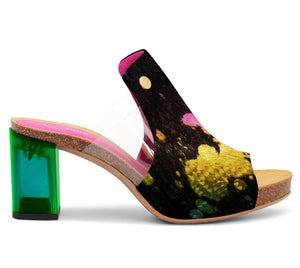 Cannes-Black Rainbow cow hide slide