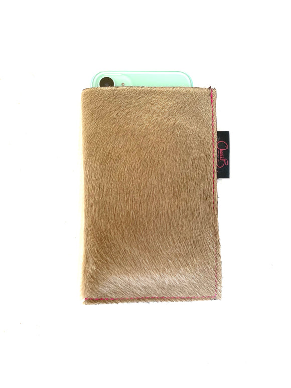 Phone sleeve- taupe pony
