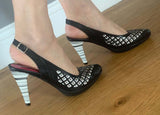Diamante Black and white sling-LAST PAIR 37!
