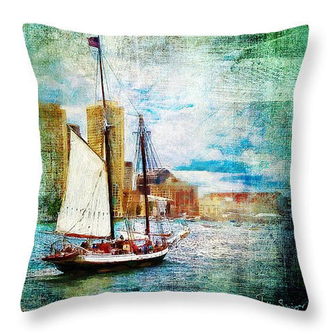 Schooner Bay accent pillow - Julia Springer | convergent media art