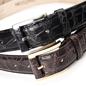 Crocodile Belly Leather Belt 35 MM (Gold Buckle) - Karoo Classics