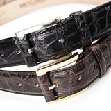 Crocodile Belly Leather Belt 35 MM (Silver Buckle)