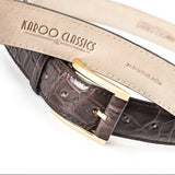 Crocodile Belly Leather Belt 35 MM (Gold Buckle)