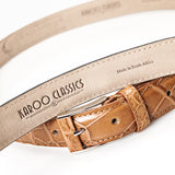 Crocodile Belly Leather Belt 30 MM (Gold Buckle)