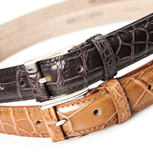 Crocodile Belly Leather Belt 30 MM (Gold Buckle) - Karoo Classics