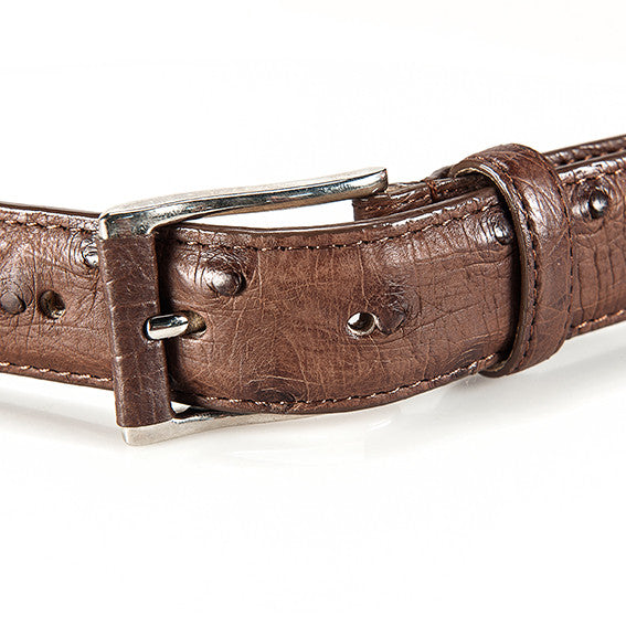 Ostrich Leather Belt 30 MM (Silver Buckle) - Karoo Classics