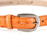 Ostrich Leather Belt 22 MM (Silver Buckle) - Karoo Classics