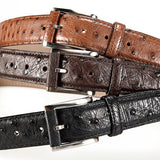 Ostrich Leather Belt 35 MM (Gold Buckle) - Karoo Classics