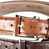 Ostrich Leather Belt 35 MM (Silver Buckle) - Karoo Classics