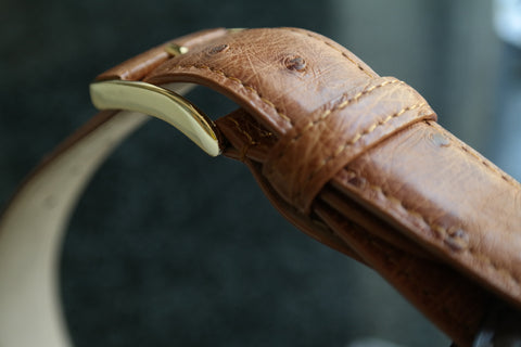 Ostrich Leather Belt 30 MM (Gold Buckle)