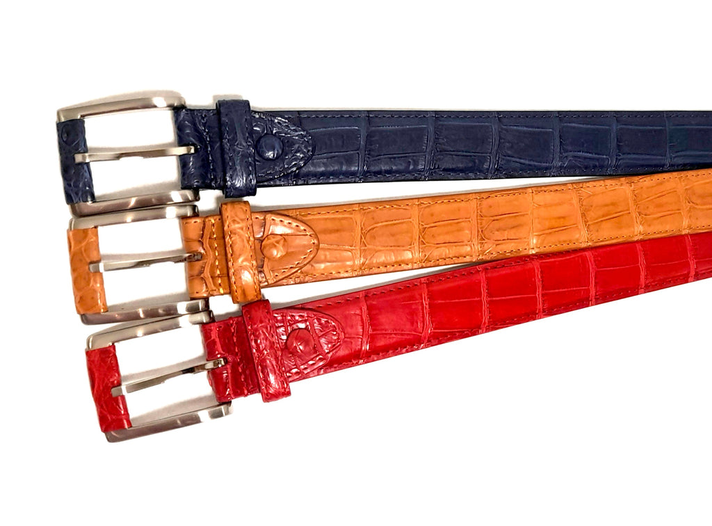 Crocodile Belly Leather Belt 35 MM (Silver Buckle) - Karoo Classics