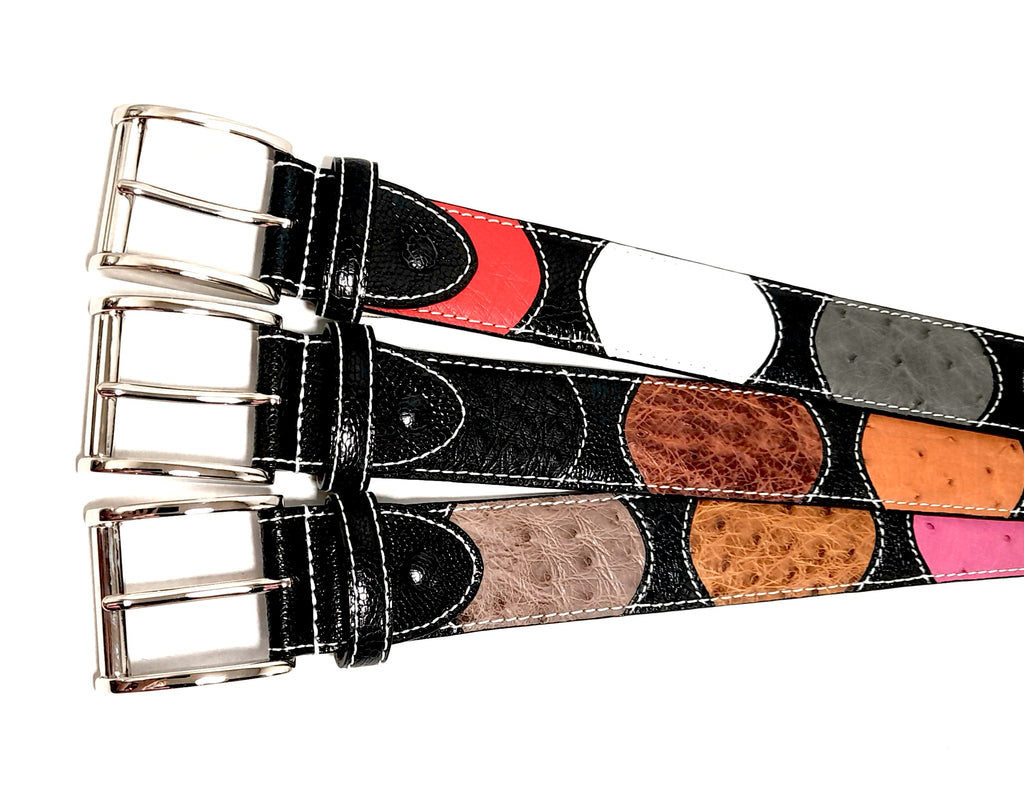 Ostrich Leather Multi Colour Belt 40 MM (Silver Buckle) - Karoo Classics