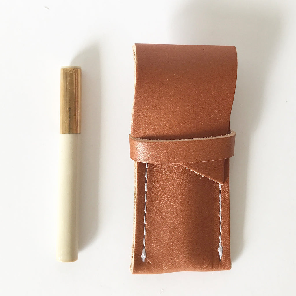 One Hitter + Leather Sheath | White