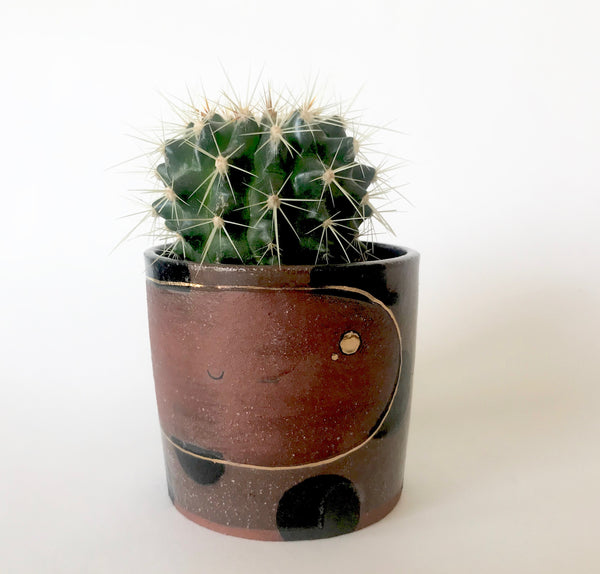 Happy Plant Pot | Black Polka Dots