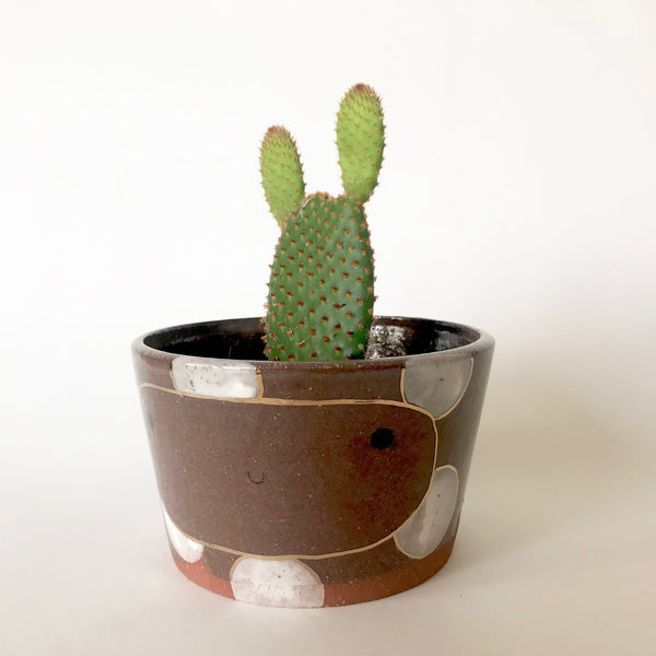 Happy Plant Pot | White Polka Dots