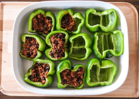 half stuffed and half not stuffed peppers
