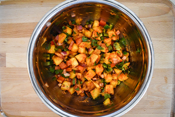 Mango salsa in medium sized bowl
