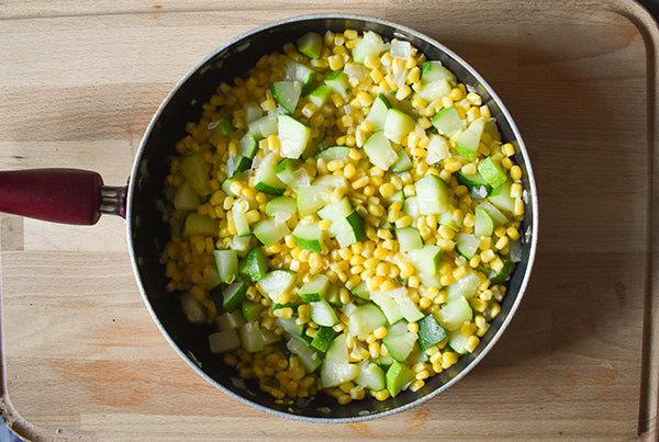 sauteed corn, onion, zucchini, and jalapeno