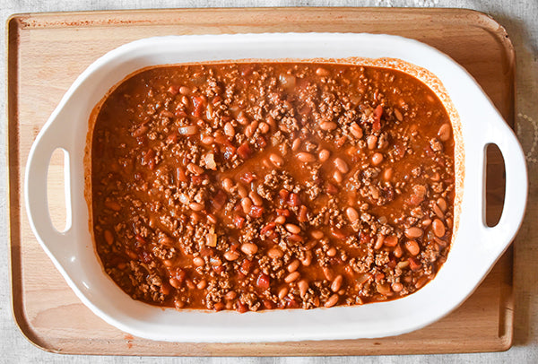 chugwater chili seasoned chili added to10x15 baking dish.