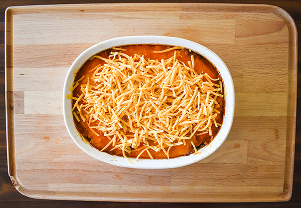 shredded cheese added to top of tamale pie