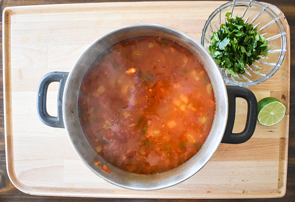chicken that was pulled out and shredded added back into pot with lime juice and cilantro