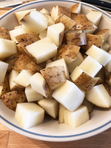 diced potatoes in bowl