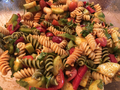 up close photo of chili lime pasta salad