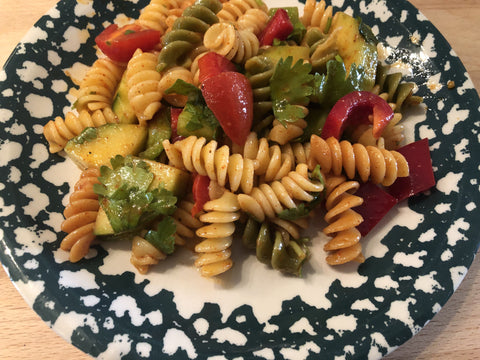 up close photo of pasta salad on plate