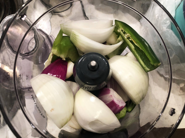 Peppers, galric, onions, in food processor