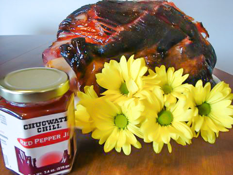 photo of ham with red pepper jelly and flowers