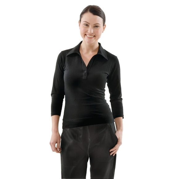 Horeca B038-XL Uniform Works dames T-shirt met V-hals zwart XL B038-XL