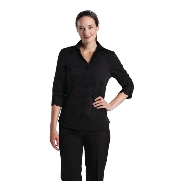 Horeca B314-S Uniform Works dames stretch shirt zwart S B314-S