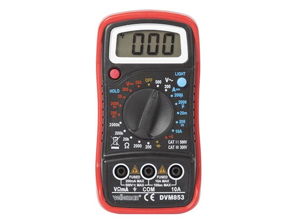 VELLEMAN DVM853 DIGITALE MULTIMETER - CAT. III 300 V / CAT. II 500 V - 1999 COUNTS - DATA HOLD / ACHTERGRONDVERLICHTING / ZOEMER