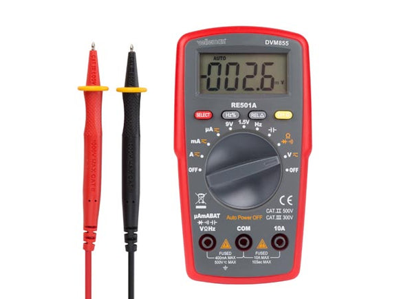 VELLEMAN DVM855 DIGITALE MULTIMETER - CAT. II 500 V / CAT. III 300 V - 10 A - AUTOMATISCH BEREIK - 4000 COUNTS