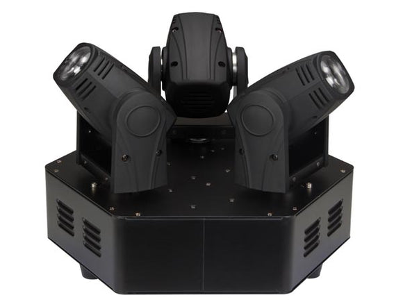 VELLEMAN VDPL310MB TRIMO 310 - MOVING HEAD MET 3 KOPPEN - 3 X 10 W WITTE LED