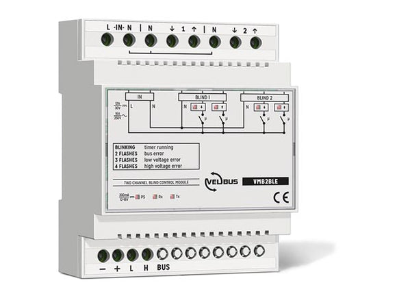 VELLEMAN VMB2BLE VELBUS VMB2BLE TWO‑CHANNEL BLIND CONTROL MODULE FOR DIN‑RAIL