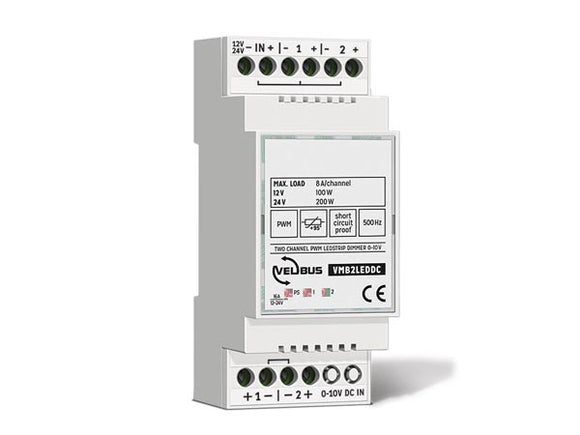 VELLEMAN VMB2LEDDC VELBUS VMB2LEDDC TWO‑CHANNEL 0–10 V CONTROLLED PWM DIMMER FOR LED STRIPS