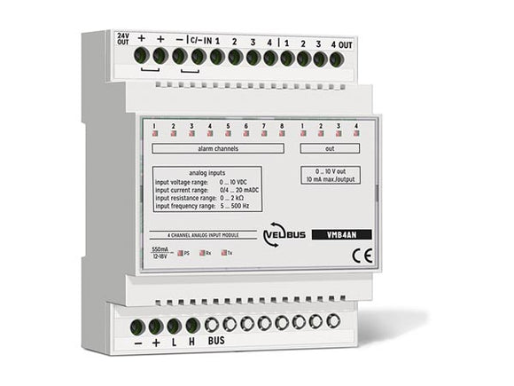 VELLEMAN VMB4AN VELBUS VMB4AN 4‑CHANNEL ANALOG INPUT MODULE FOR DIN‑RAIL • 0‑10 V, 4‑20 MA, 0‑2 KΩ, 5‑500 HZ