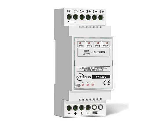 VELLEMAN VMB4DC VELBUS VMB4DC FOUR‑CHANNEL 0/1–10 V DIMMER • 49 MODES