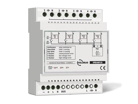 VELLEMAN VMB4RYLD VELBUS VMB4RYLD 4‑CHANNEL RELAY MODULE WITH VOLTAGE OUTPUTS FOR DIN‑RAIL