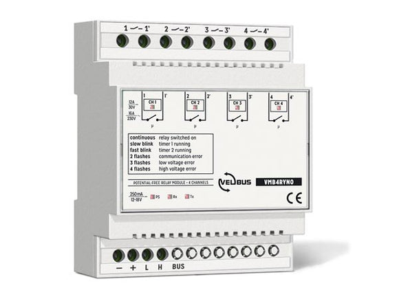 VELLEMAN VMB4RYNO VELBUS VMB4RYNO 4‑CHANNEL RELAY MODULE WITH POTENTIAL‑FREE CONTACTS FOR DIN‑RAIL