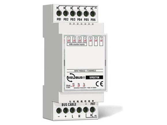 VELLEMAN VMB7IN VELBUS VMB7IN 7‑CHANNEL INPUT MODULE FOR DIN‑RAIL