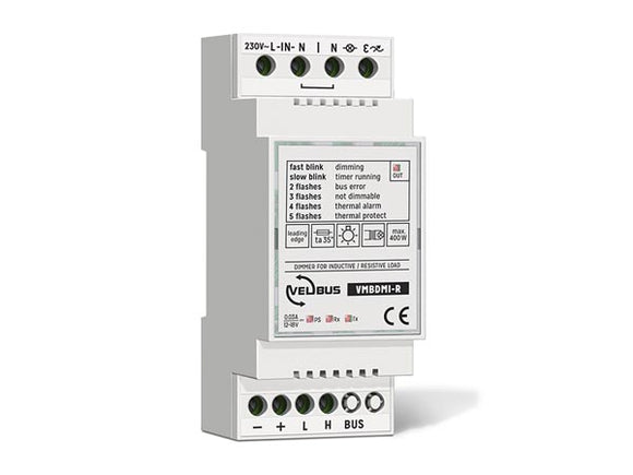 VELLEMAN VMBDMI-R VELBUS VMBDMI-R SINGLE CHANNEL TRIAC DIMMER FOR RESISTIVE AND INDUCTIVE LOADS