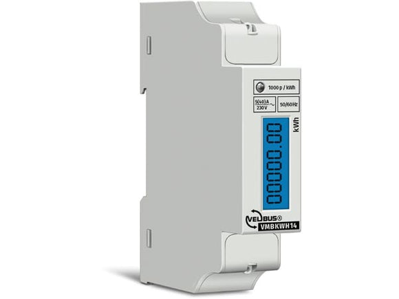 VELLEMAN VMBKWH14 VELBUS VMBKWH14 SINGLE PHASE KILOWATT HOUR COUNTER FOR DIN‑RAIL MOUNTING • 5 (80) A • CONNECTS TO VMB7IN