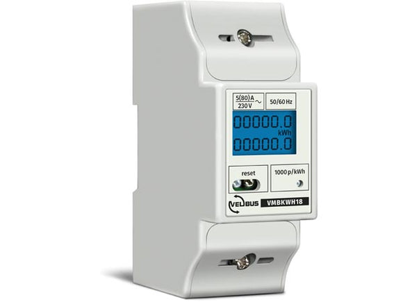 VELLEMAN VMBKWH18 VELBUS VMBKWH18 SINGLE PHASE KILOWATT HOUR COUNTER FOR DIN‑RAIL MOUNTING • 5 (80) A • CONNECTS TO VMB7IN